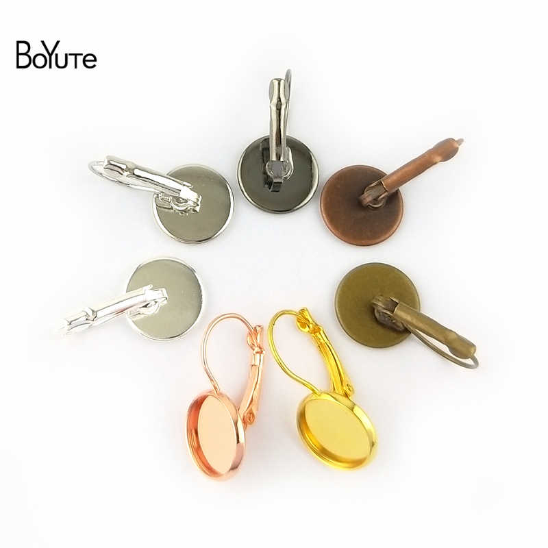 BoYuTe 50 piezas 7 colores pendientes redondos en blanco accesorios Base bandeja pendientes ganchos piezas para accesorios de joyería DIY componentes
