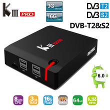 KIII Pro Android 6.0 TV Box 3G + 16G DVB-S2 DVB-T2 4 K Amlogic S912 Octa core 2.4G/5G Wifi BT4.0 K3 Pro Smart Media Player KIIIPro