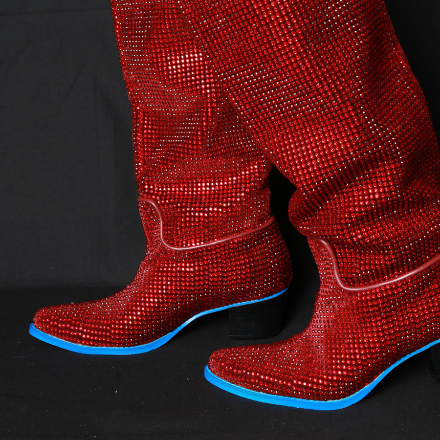 Cristal Botas Bloc Chaussures Genou Mstacchi Bottines red Talons Med Longues De Pointu Femmes Haute Bottes Strass Designer Diamant Silver Bout Luxe 1xgxFw