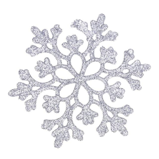 24pcs Snowflakes Christmas Decor 10cm Plastic Glitter Snow Flake Ornaments  Christmas Tree Pendant Ornament Xmas Home