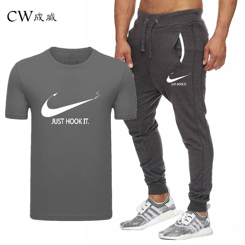 HTB1CxaqVwHqK1RjSZFgq6y7JXXaC 2019 Quality Men T Shirt Sets+pants men Brand clothing Two piece suit tracksuit Fashion Casual Tshirts Gyms Workout Fitness Sets