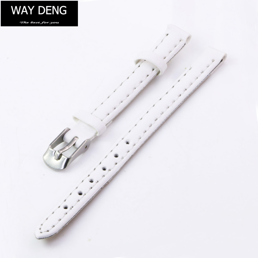 Fashion Women Girls Solid White Faux Leather Watchband Replacement 8mm Watch Band Two-piece Strap Accessories - Y185