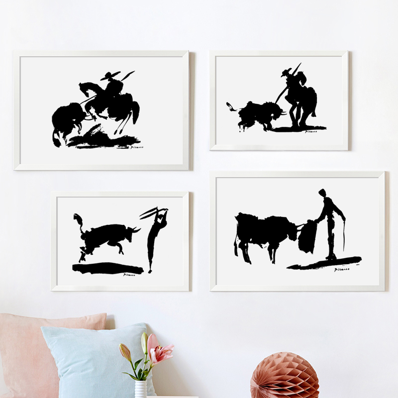 Picasso Famous Painting Matador Black And White Canvas Art Painting A4 A3 HD Printing Poster For Bedroom Living Room Home Decor