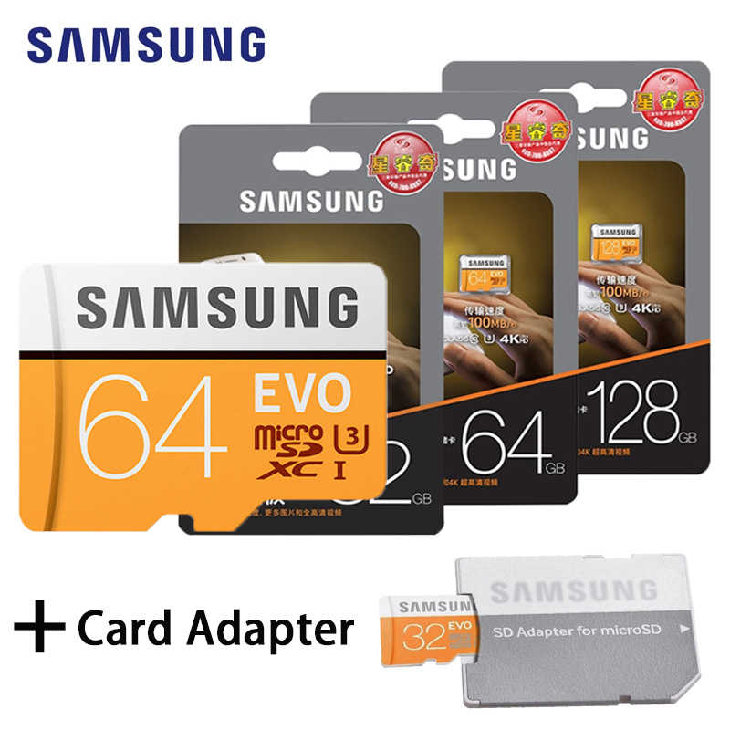 SAMSUNG Memory Card 128GB 64GB 32GB 100Mb/s Class10 U3/U1 4K Flash TF Micro SD Card Microsd Card for Phone with SDHC SDXC samsung micro sd card 16gb 32gb 64gb 128gb 256gb 100mb s flash memory card tf card with mini sdhc sdxc class10 u3 free adapter