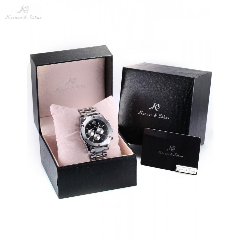 Luxury Leather Box KS Brand Men Automatic Mechanical 6 Hands Date Day Stainless Steel Strap Wrist Watches Timepiece / KS050-051 ks grand series automatic mechanical wrist watch black date tourbillon stainless steel men leather clock wooden gift box ks367