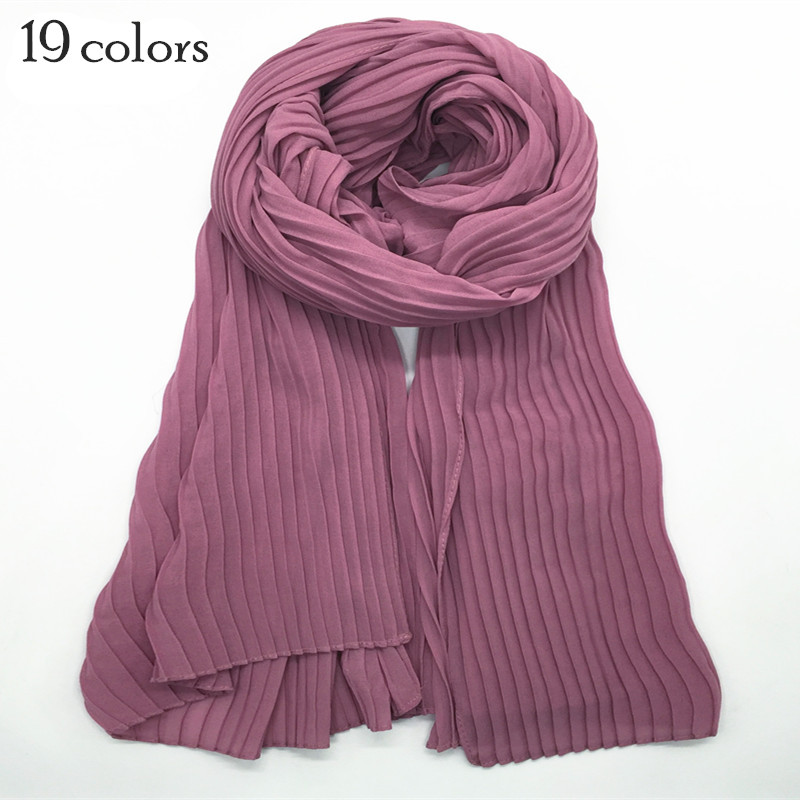 New Bubble Chiffon Scarf Scarves Pleated Plain Maxi Hijab Women Embossed Shawls Solid Muslim Essencial Scarfs Headband 16color
