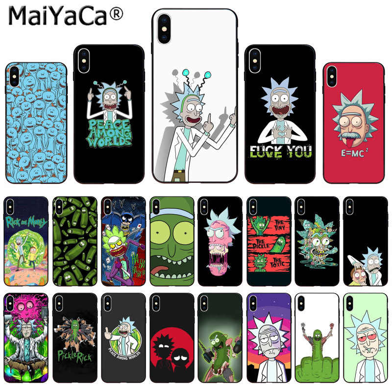 MaiYaCa Soft TPU silicone Luxury Phone Cartoon Pickle rick Rick And Morty for Apple iPhone 8 7 6 6S Plus X XS MAX 5 5S SE XR