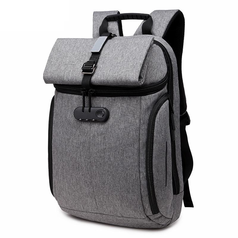 Fashion Antiftft Salasõna lukk Seljakott Meeste peegeldav Back Pack Reisipakett Sülearvuti kotid meeste sülearvutile