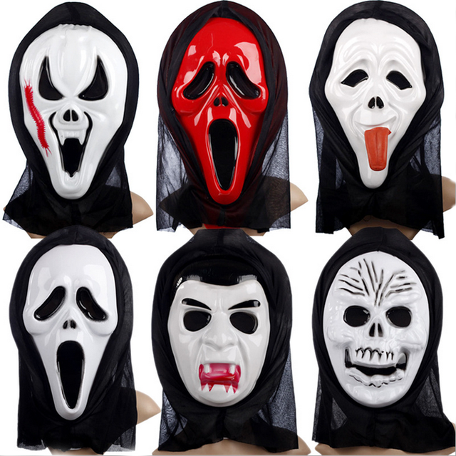 1 Pc Scary Ghost Face Scream Cosplay Black Mask Halloween Mask ...