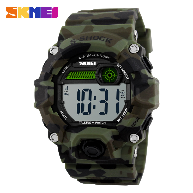 SKMEI Talking Time Digital Wristwatches Men Electronic LED Sports Watches Music Alarm Clock Military Fashion Casual