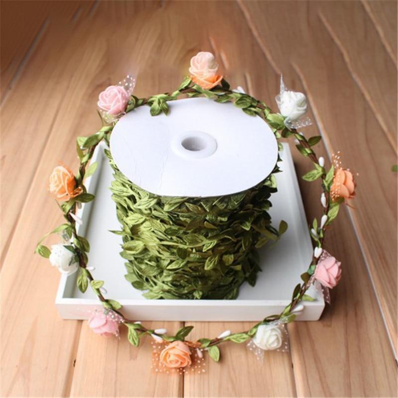 10 Meter Silk-Shaped Handmake Sztuczne Zielone Liście na Dekoracje - Materiały świąteczne - Zdjęcie 4