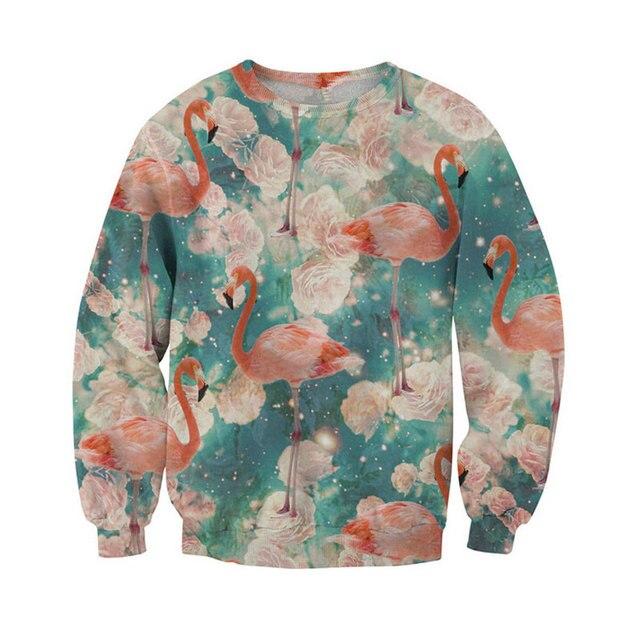 Моды для мужчин 3D Фламинго Печати Сексуальная Потливость Во Всем Розовый Фламинго Crewneck Кофты Зима Осень Пуловеры Топы