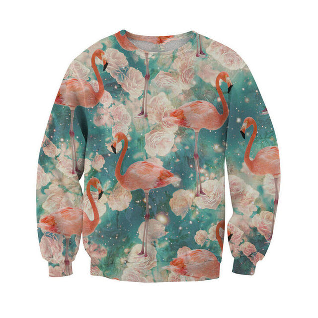 Men Fashion 3D Flamingo Print Sexy Sweats All Over Rose Flamingos Crewneck Sweatshirts Winter Autumn Pullover Tops