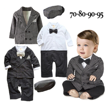 Free Shipping 4sets lot Infant Toddler Baby Boy s Formal Wear Tuxedo Rompers with coat and
