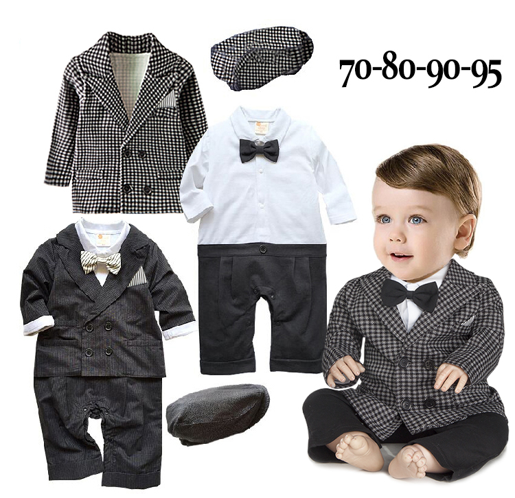 Free Shipping 4sets/lot Infant Toddler Baby Boy's Formal Wear Tuxedo Rompers with coat and Caps Set