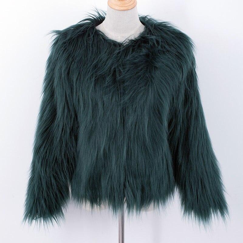 d5998a1412595 Fluffy faux fur coat green fur jackets overcoats outerwear women winter  coats fourrure pelliccia fake fox fur coat Parkas femme-in Fur   Faux Fur  from ...