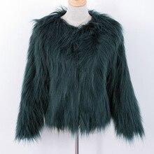 Пушистый искусственный мех пальто зеленый меховые куртки пальто верхняя одежда женщин зимнее пальто femme fourrure pelliccia поддельные меха лисы пальто Парки