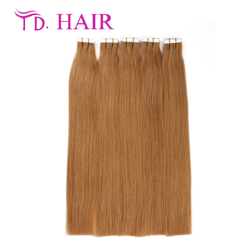 #16 Double drawn tape in human hair extensions blonde virgin hair thick bottom 14-26inch hair extension tape