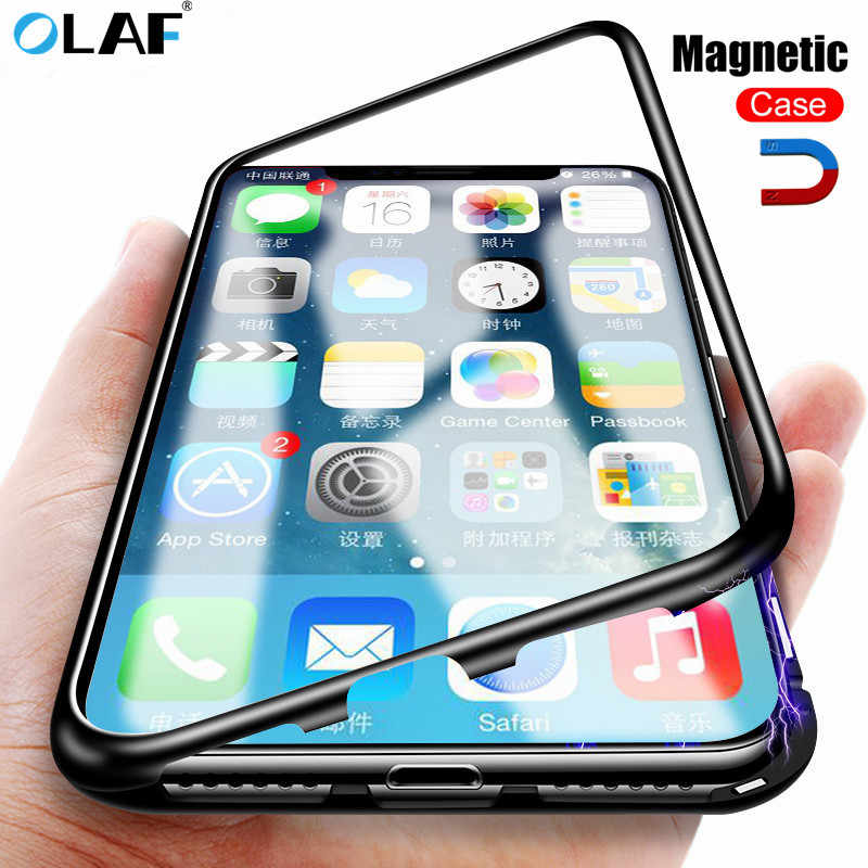 Olaf Magnetic Glass Phone Case For Huawei P20 Lite Pro Metal Frame Bumper Case For iPhone XS Max X XR 7 8 6 6S Plus Accessories