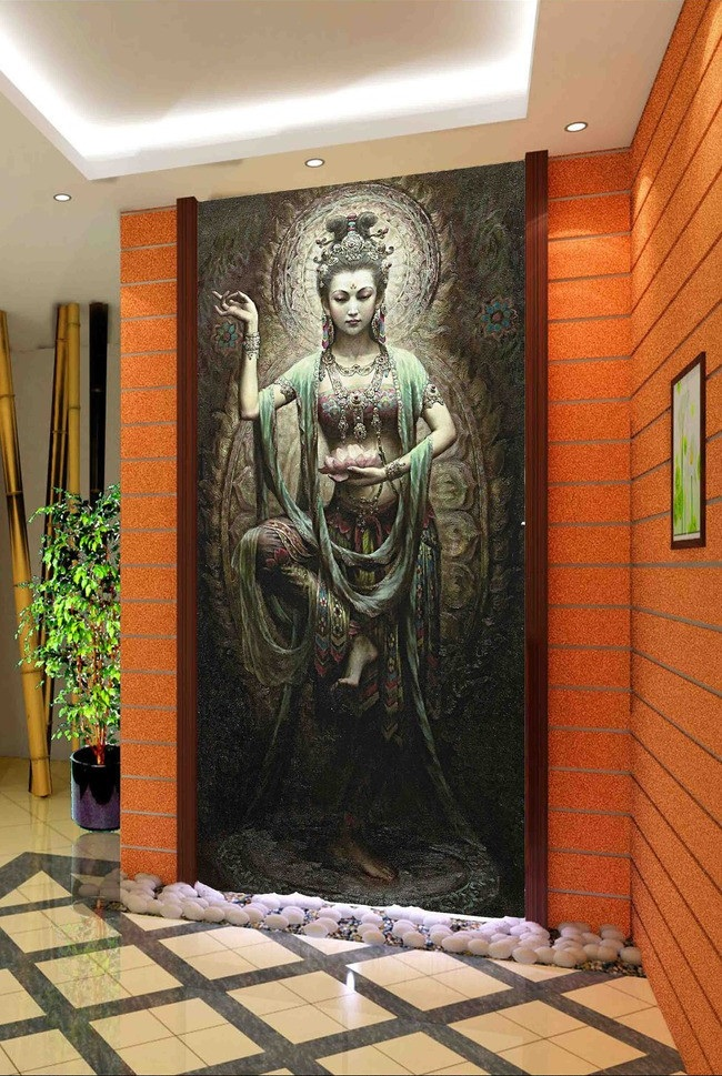 3d room wallpaper custom mural non-woven picture 3d Dunhuang Buddha dance porch painting photo 3d wall murals wallpaper 3d wallpaper custom mural non woven wall sticker 3d flowers and blue sky and white cloud ceiling murals wallpaper for walls 3d