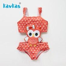 Kavkas/Одежда для купания для девочек 12 мес.-8 лет, детский купальный костюм, детский купальный костюм с вышивкой в виде совы и рюшами, пляжный цельный купальный костюм, Roupa De