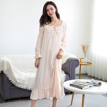 2019 new palace female cotton nightgown long sleeved lace nightdress  elegant french court retro romantic princess dress sleep-in Nightgowns    Sleepshirts ... 8a64f470f7e6