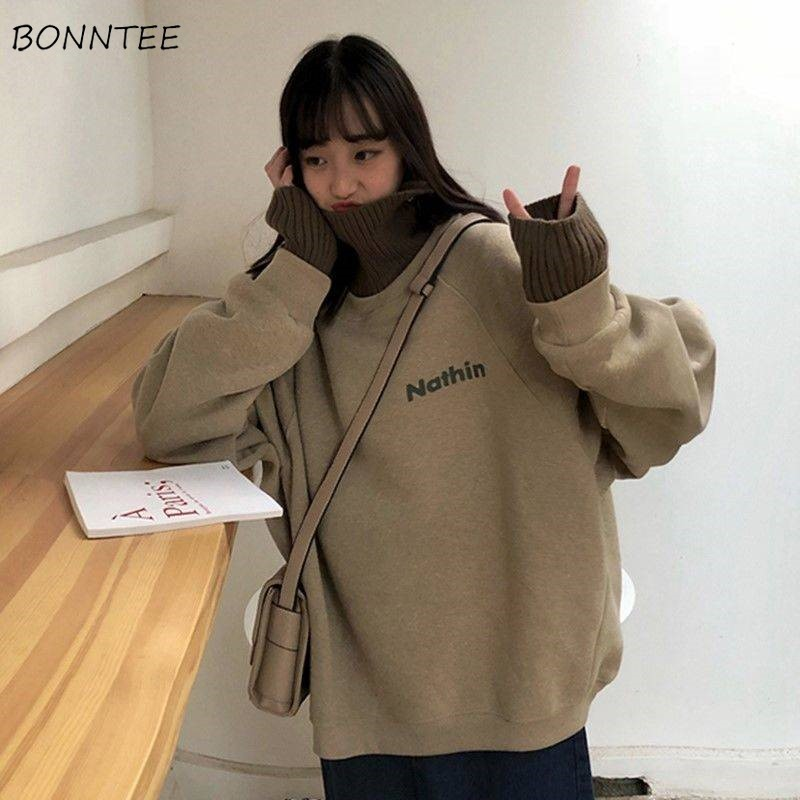 Hoodies Women Autumn Winter Trendy Korean Style Simple Casual Patchwork High Quality Streetwear Womens Clothing Chic Loose Soft