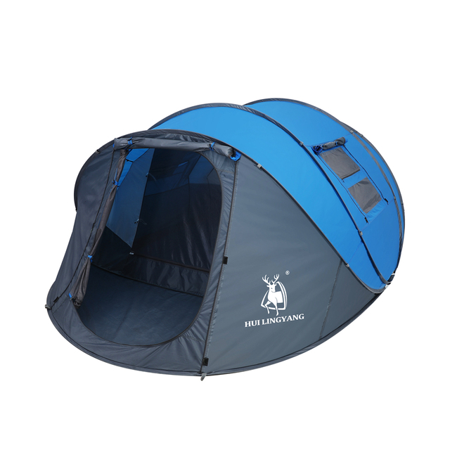 HUI LINGYANG Throw pop up tent 4-6 Person outdoor automatic tents Double Layers large family Tent waterproof camping hiking tent 4