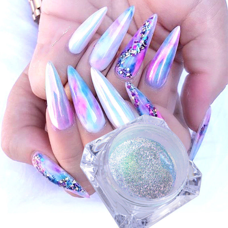 0.2g/box Neon Unicorn Chameleon Nail Powder Mermaid Aurora Iridescent Nail Glitter Dust Chrome Pigment DIY Nail Art Decoration
