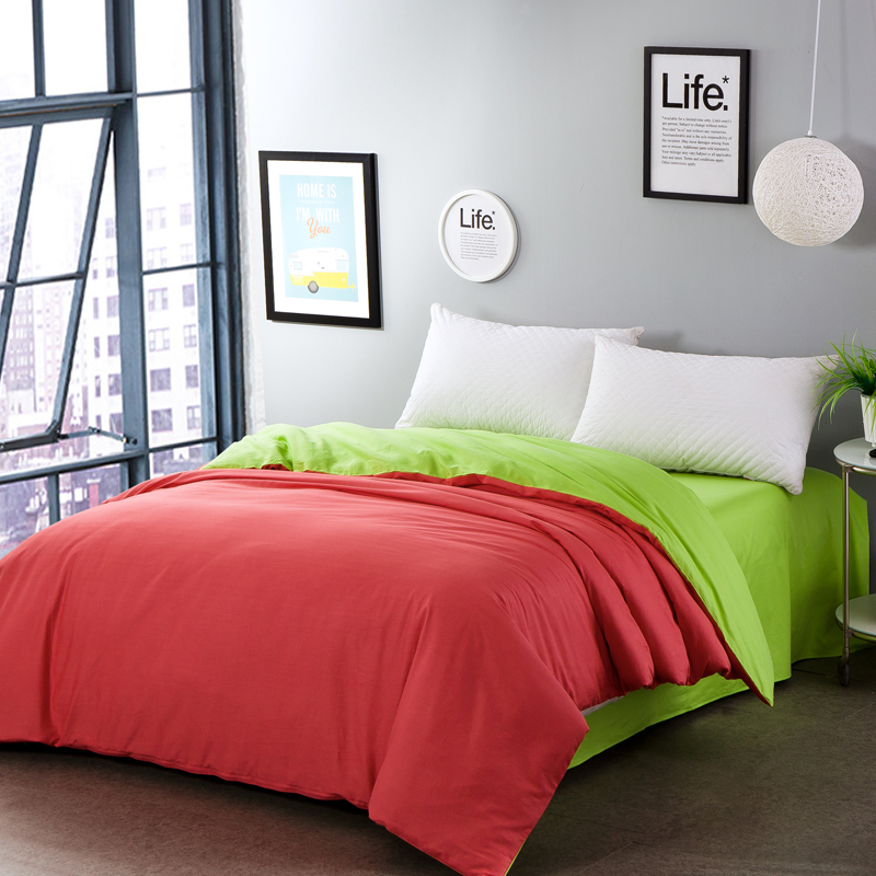 Stylish brick red and green two-sided color solid color duvet cover bed covers bedding cotton single quilt cover home textile