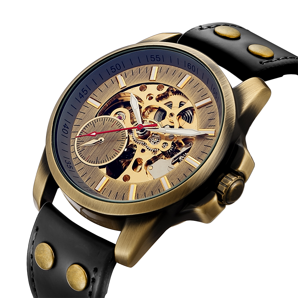 цена Retro Top Band Bronze Mechanical Automatic Watch Men Skeleton Roman Numbers Analog Leather Band Wind Up Wrist Watches