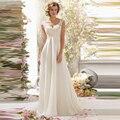 Verano blanco barato vestido de boda 2016 A línea de novia Sexy Vestidos Backless Vestidos Appliqued con cuentas vestido de novia nueva moda