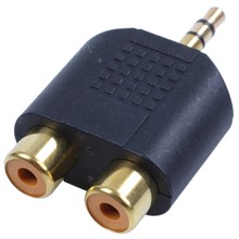 "New 1/8"" 3.5mm Jack to 2 RCA Adaptor Y Splitter Stereo Male 2x Female Gold Mini(China)"