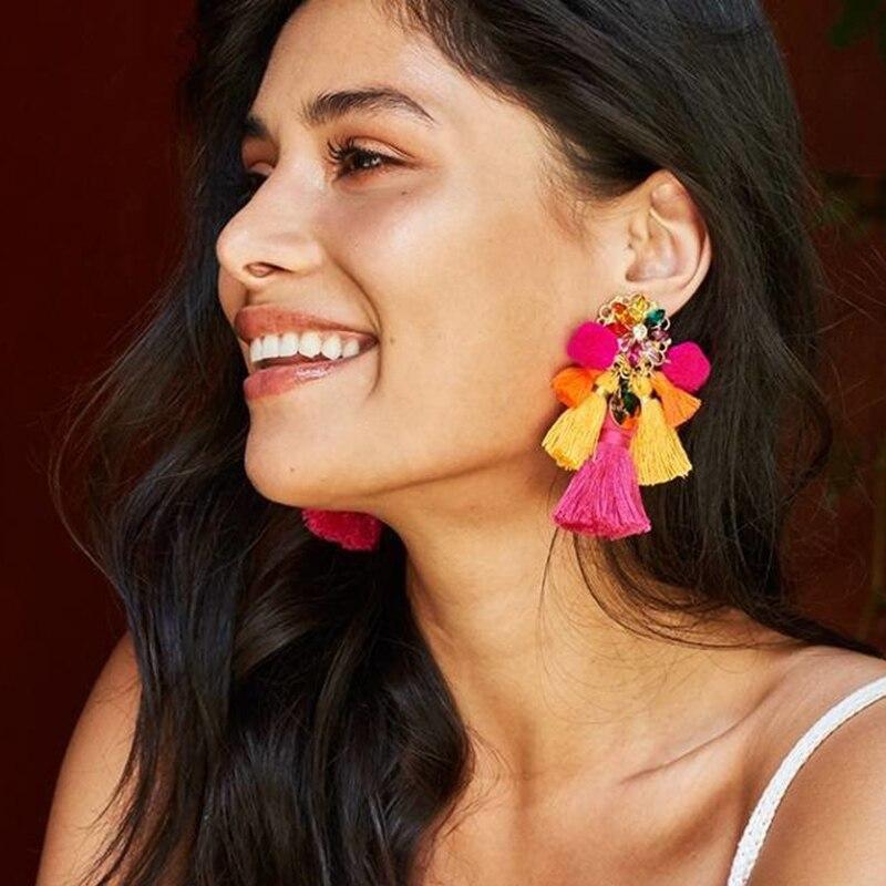 FASHIONSNOOPS Boho Statement Jewelry Long Tassel Big Earring Dangle Drop Crystal Earring For Women Oorbellen
