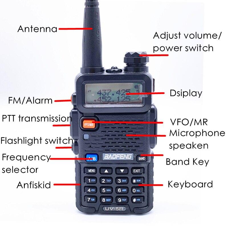 Image 2 - 2PCS BaoFeng UV 5R Walkie Talkie 5w CB Ham Radio hf fm Transceiver 128CH VHF&UHF Handheld Radio Station For Hunting 10km UV 5R-in Walkie Talkie from Cellphones & Telecommunications