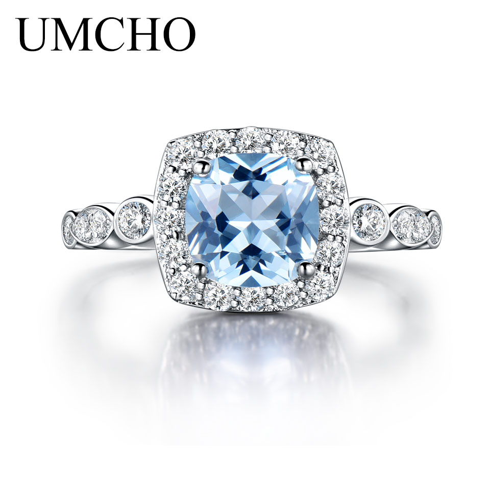 UMCHO Nano Sky Blue Topaz Rings Genuine 925 Sterling Silver Engagement Rings For Women Wedding Party Gift Jewelry Drop Shipping