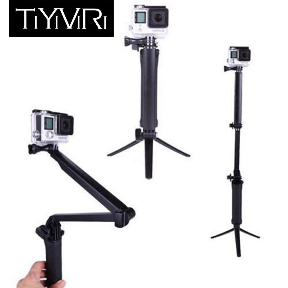 3 agarre impermeable monopie Selfie palo para Gopro Hero 5 6 4 negro PERÍODO DE SESIONES SJ4000 para Xiaomi Yi 4 K deportes trípode de cámara