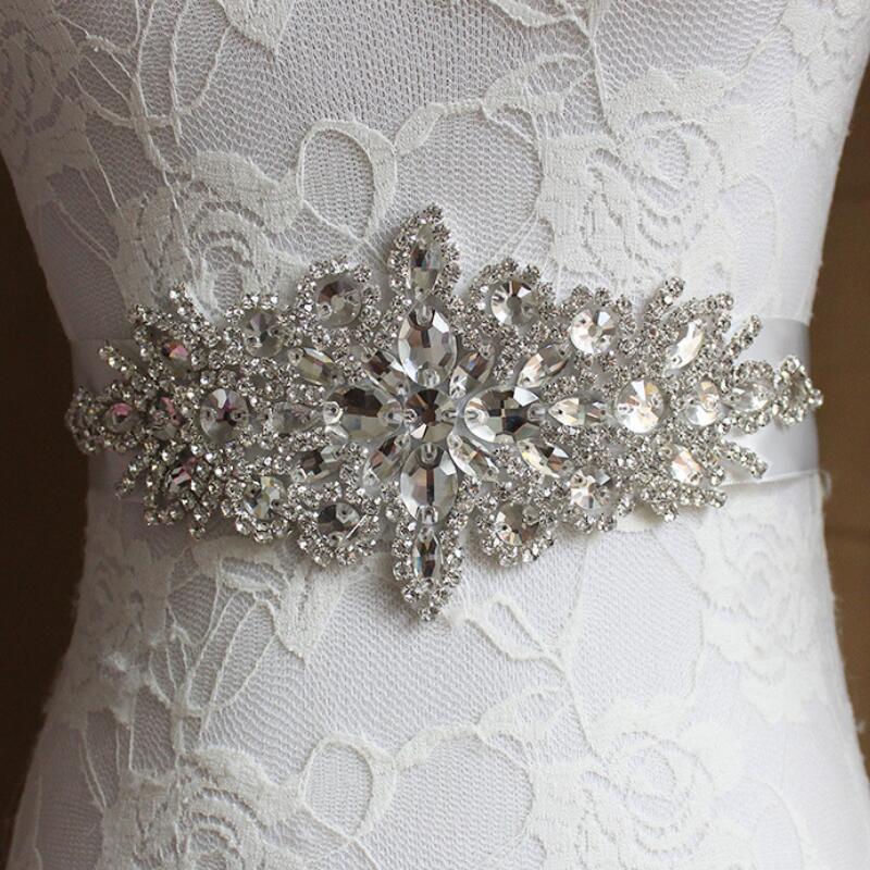AYiCuthia Crystal Wedding Accessories Satin Wedding Dress Belt Bridal Ribbon Waistband Sash Belt For Evening Prom Dresse Y1