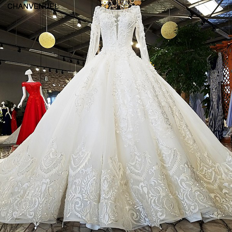 LS53710 ivory as the picture full sleeves o-neck ball gown lace up back hand work wedding dresses vestido de noiva real photos Платье