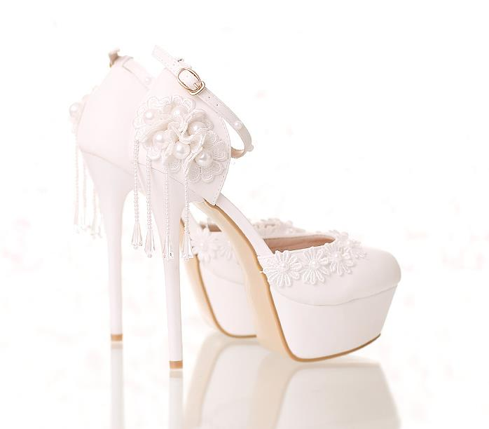 645ce4d88a4a52 White lace flower bride shoes ultra high heel waterproof table round head  fine heel empty shoes wedding shoes female sandals -in Women s Pumps from  Shoes on ...