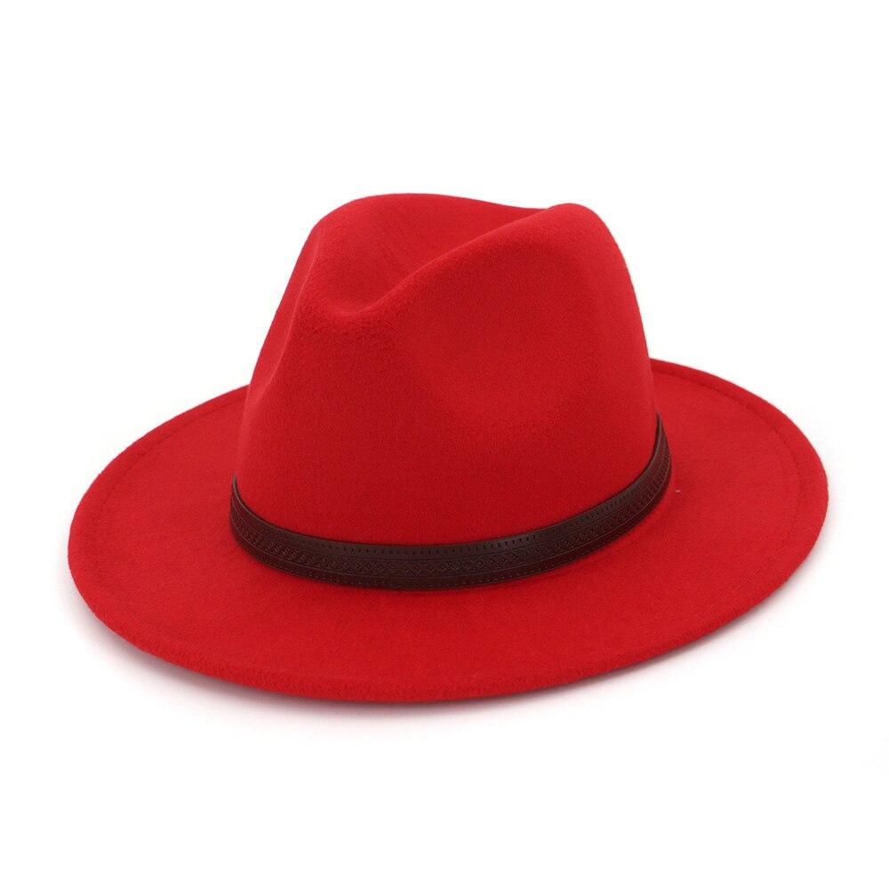 FS Cotton Navy Black Felt Fedora Hat For Women Elegant Men Classic Royal  Wide Brim Vintage Bowler Top Hats With Leather Belt -in Fedoras from  Apparel ... 97cf60c39ef7