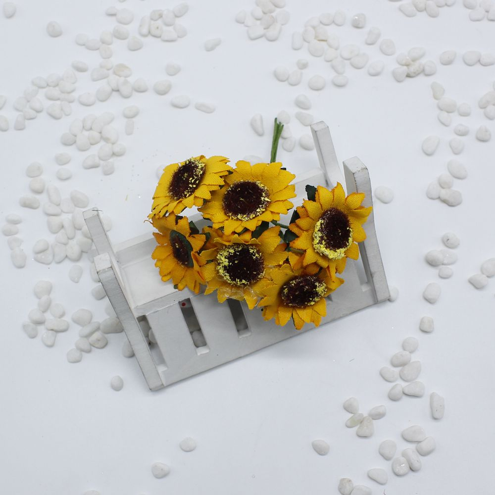 New 60 pieces / batch DIY simulation yellow sunflower artificial ...