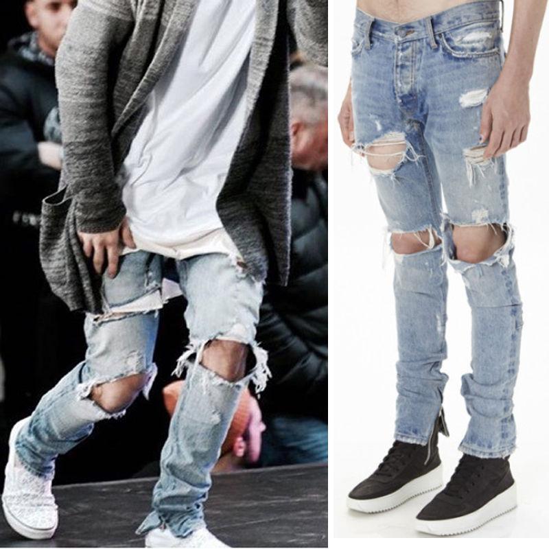 66e3f928 Fashion Mens hip hop ankle zipper biker denim pants justin bieber jeans  version designer destroyed ripped jeans-in Jeans from Men's Clothing on ...