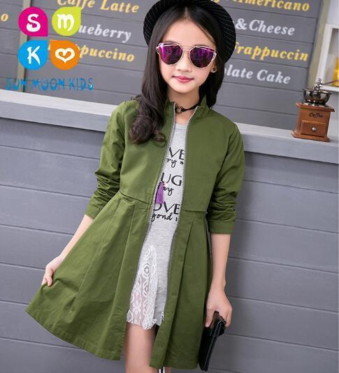 Children Jackets For Girls Trench Coats Cotton Long Sleeve Girls Clothes Spring Autumn Kids Outerwear 3-13year Old цены