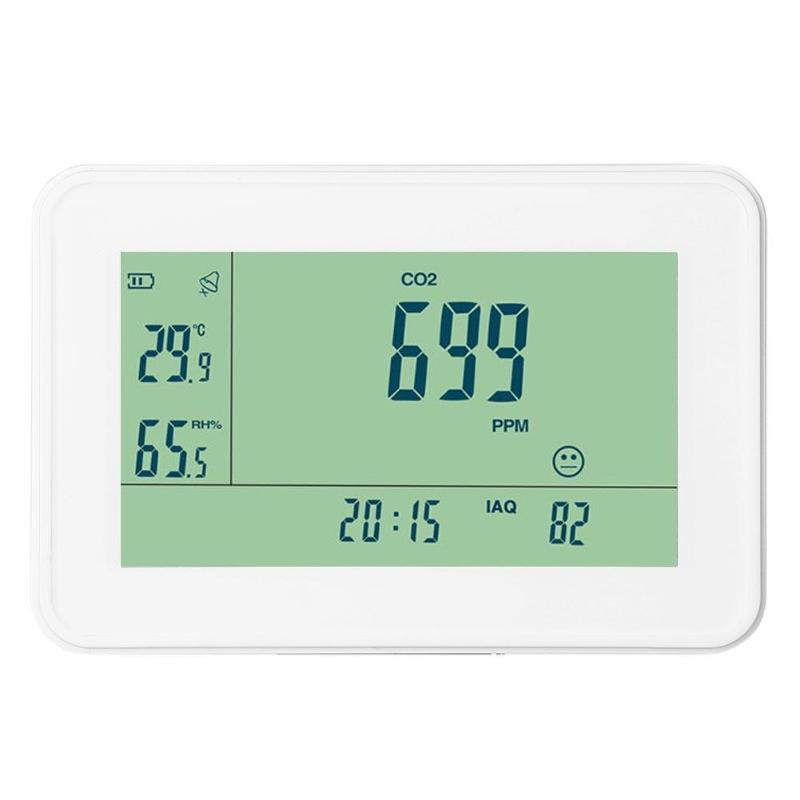 YEH-40 Carbon Dioxide Detector CO2 Monitor Alarm Temperature Humidity Meter Tester Clock Alarm LCD Display with Backlight (US) gm8802 handheld portable carbon dioxide detector co2 meter led backlight display with sound light alarm setting