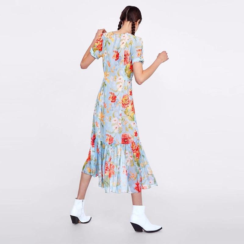 Slim Vadim breasted Photo Femmes L'ukraine 2018 Color Top Longue Longo Jardin Fashion Nouveau Single Femelle Imprimé Polyester Été Robe 6qYwA
