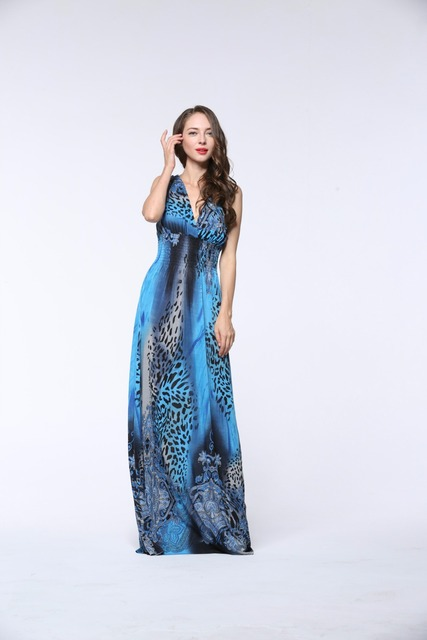 New fashion show thin large size women and summer vacation in Bohemia beach ice leopard pattern printing V collar dress 3010