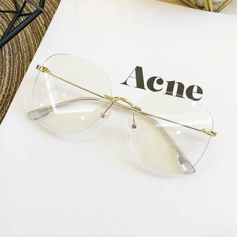 Винтажные Солнцезащитные очки унисекс, большие квадратные очки без оправы с прозрачными линзами, 2020