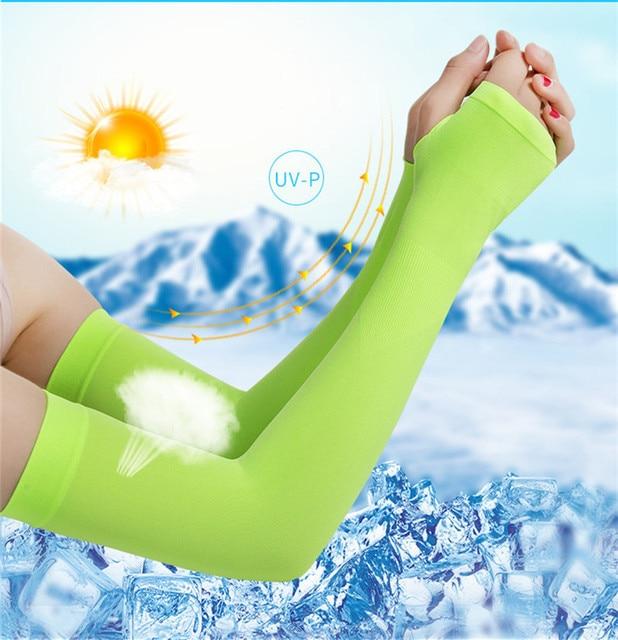 Tecido de gelo respirável proteção uv correndo mangas braço fitness basquete manga esporte ciclismo ao ar livre aquecedores braço ciclismo manguito 3