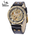 SHENHUA Top Brand Mechanical Watches Men Fashion Vintage Bronze Skeleton Automatic Mechanical Wrist Watches relogio masculino